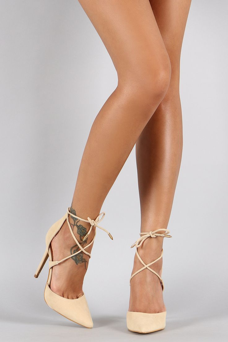 Shoe Republic LA Suede Ankle Tie Pointy Toe Pump