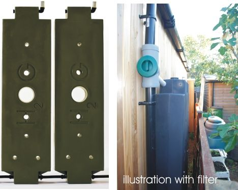 Might fit down side of garage - had these in prev garden to feed pond.  Rainwater Hog 360 Litre tank with wall mount and inlet outlet connections   Above Ground Rainwater StorageTanks   Rainwater Harvesting Ltd