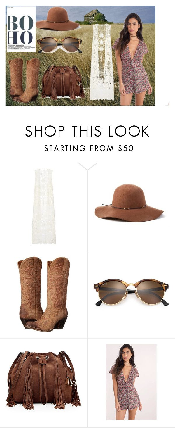 """""""Prairie Boho"""" by persephone24 ❤ liked on Polyvore featuring National Geographic Home, Alice + Olivia, Scala, Lucchese, Ray-Ban, Diane Von Furstenberg and Tobi"""