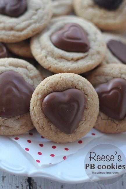 Reeses peanut butter heart cookies