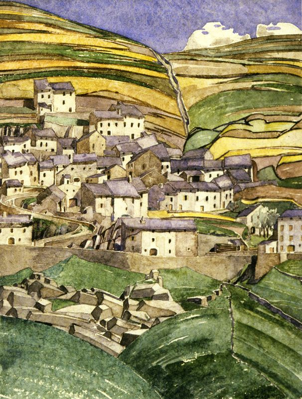Slate Roofs Fetges, by Charles Rennie Mackintosh, France, 1925. Watercolour