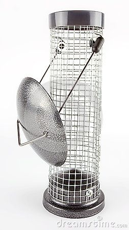 Empty hanging metal and wire mesh bird food and seed feeder isolated on white.