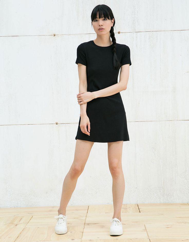 BSK short sleeve striped dress - Dresses - Bershka Greece