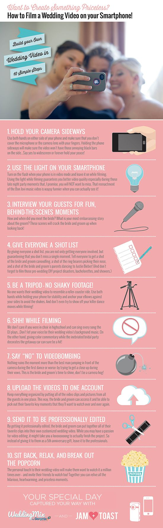 infographic how to create a wedding video with your smartphone