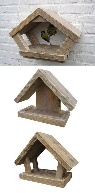 Birdfeeders.......Voederhuisjes 'Feed Me' | Steigerhout | Te koop bij w00tdesign | Flickr - Photo Sharing!