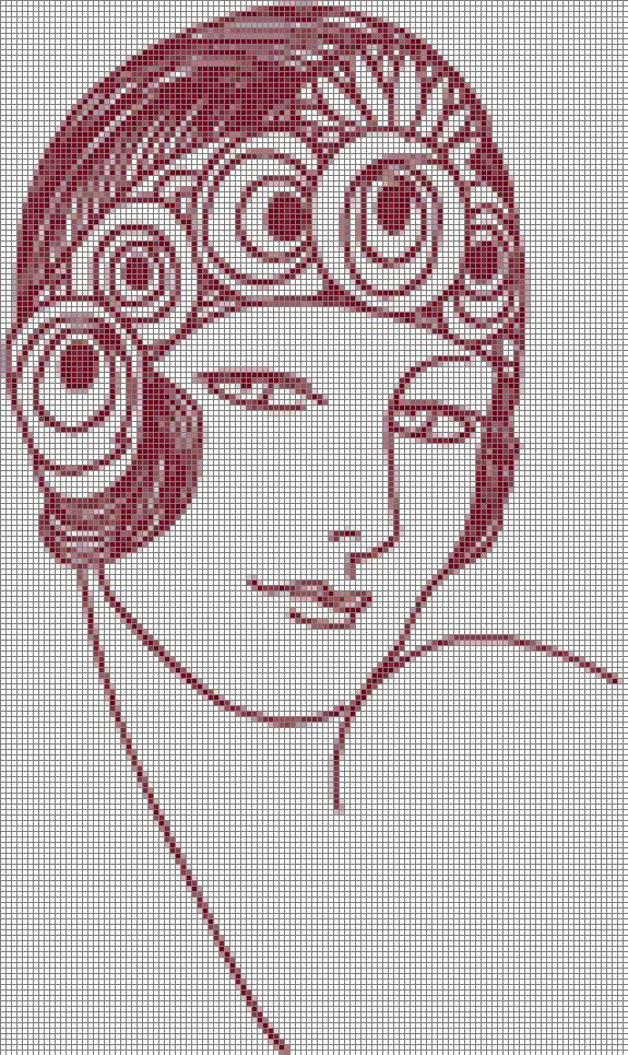 point de croix visage de femme art déco - cross stitch woman's face art deco