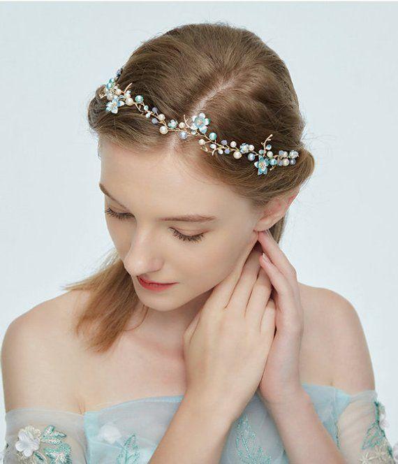 Bride Lace Headband Halo Wedding Headband Champagne Gold Lace Pearls Headband Bridesmaides Piece Bohemian Vintage Lace Headband,