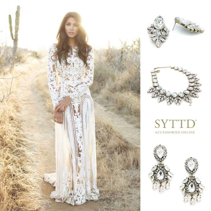 Webshop Bruidssieraden Bruiloft Bruid Ibiza Crystal Oorbellen Set Ketting Statement Vintage Bohemian