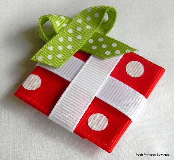 Christmas hair bow Christmas gift hair clip by PoshPrincessBows1, $4.25