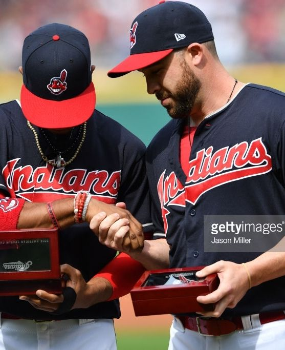 Francisco Lindor, Jason Kipnis,CLE, receive their AL Championship rings at Indians' home opener //  APril 11, 2017