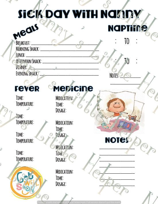 Specialty Nanny Binder Insert: Sick Day by NannysLittleHelper   http://thenannyrecruiter.com/blog/