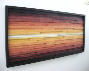 Abstract Wood Wall Art of Ocean Landscape von ModernRusticArt