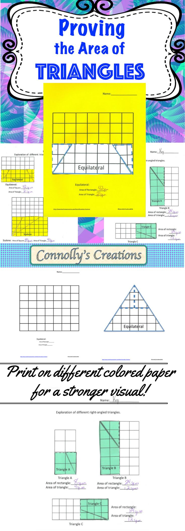 Help students discover the area of a triangle by cutting a triangle and fitting it inside of the rectangle it is half of, allowing them to discover the formula on their own. Tell them the formula and they may forget, let them discover it and they will remember it through their self-discovery! This product contains various triangles, starting with the simple right triangle and extending to the more challenging scalene triangle. Then use the task cards in small groups or in a game of scoot.