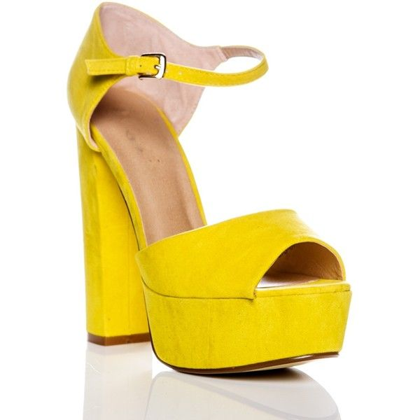 Sia Yellow Suede Platform High Heels ❤ liked on Polyvore featuring shoes, pumps, yellow platform shoes, platform shoes, suede pumps, suede shoes and high heeled footwear