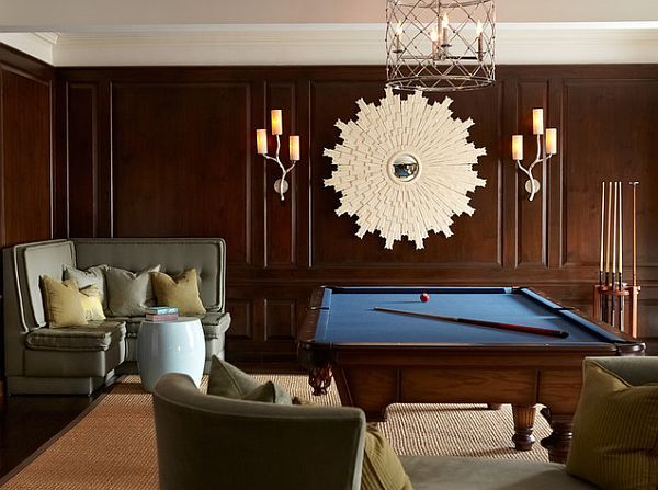 Elegant and fun rec room with traditional furniture