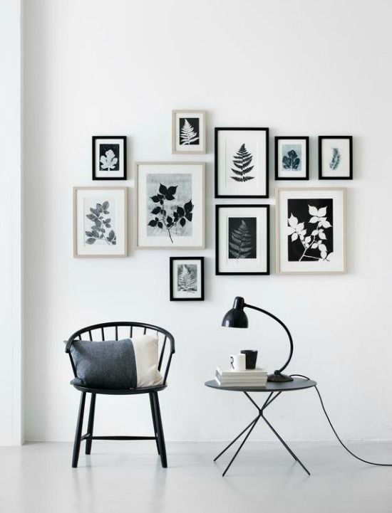 Preints Pernille Folcarelli / Danish designer working with graphics, textiles and interiors / stunning hand printed leaf graphics by processing plants and items from the nordic nature / passion shake blog / gallery wall / wall art / scandinavian style