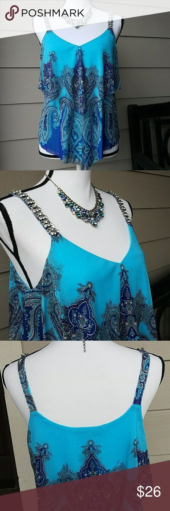 Macy's INC Tiered Paisley Nylon Tank SZ Med 100% Nylon, V-Neck, Crystal Accents on Straps, Tried on Never Worn. Colors: Aqua Blue/Blue/Gray /White INC International Concepts Tops Tank Tops