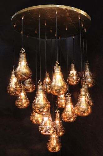 Chandelier handmade in copper with 17 BULB lamps of large dimension (20 cm)