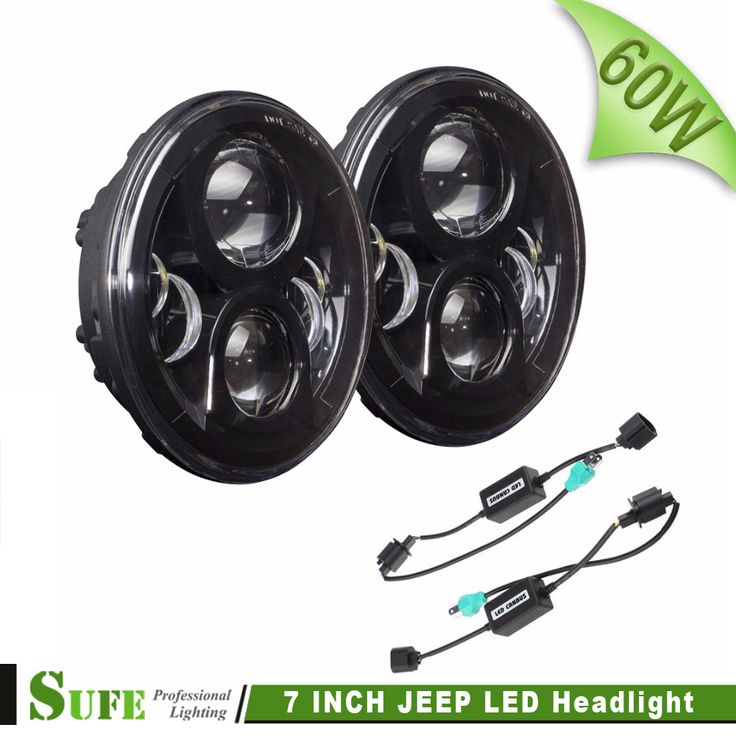 """SUFE Pair 2 Generation 7"""" Inch Round 60W LED Headlight for Jeep Wrangler JK 10W Philips Chip,Off road 4x4 use Motorcycle Trucks"""