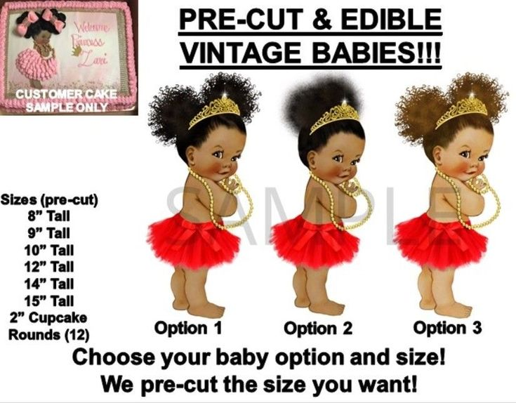 PRE-CUT Barefoot Ballerina Baby Girl Red Tutu EDIBLE Cake Topper Gold Tiara Babe #redtutu #afropuffs