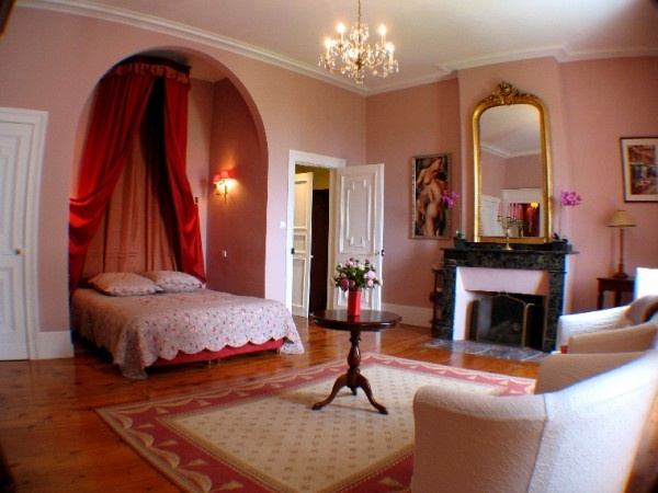 Bed and Breakfast Domaine du pegulier in Montaut, France is a beautiful castle where you can stay in this fairy-like room.