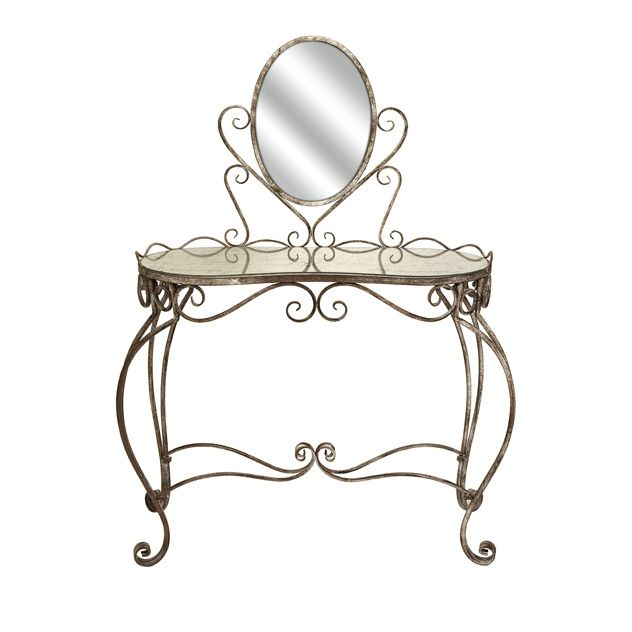 Leonora Glass Top Vanity Table with Mirror -