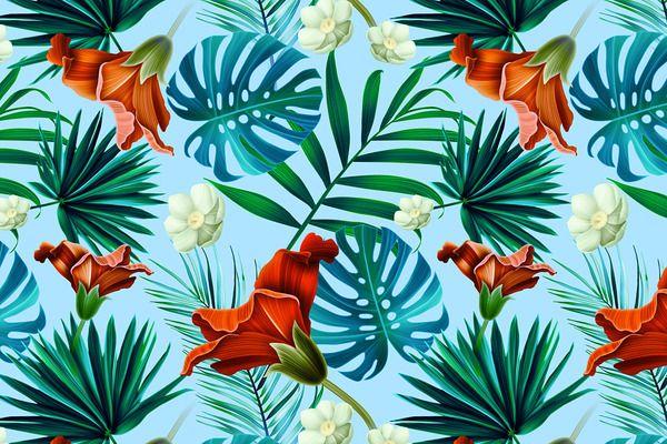 Tropical pattern. Jungle flowers - Patterns - 1