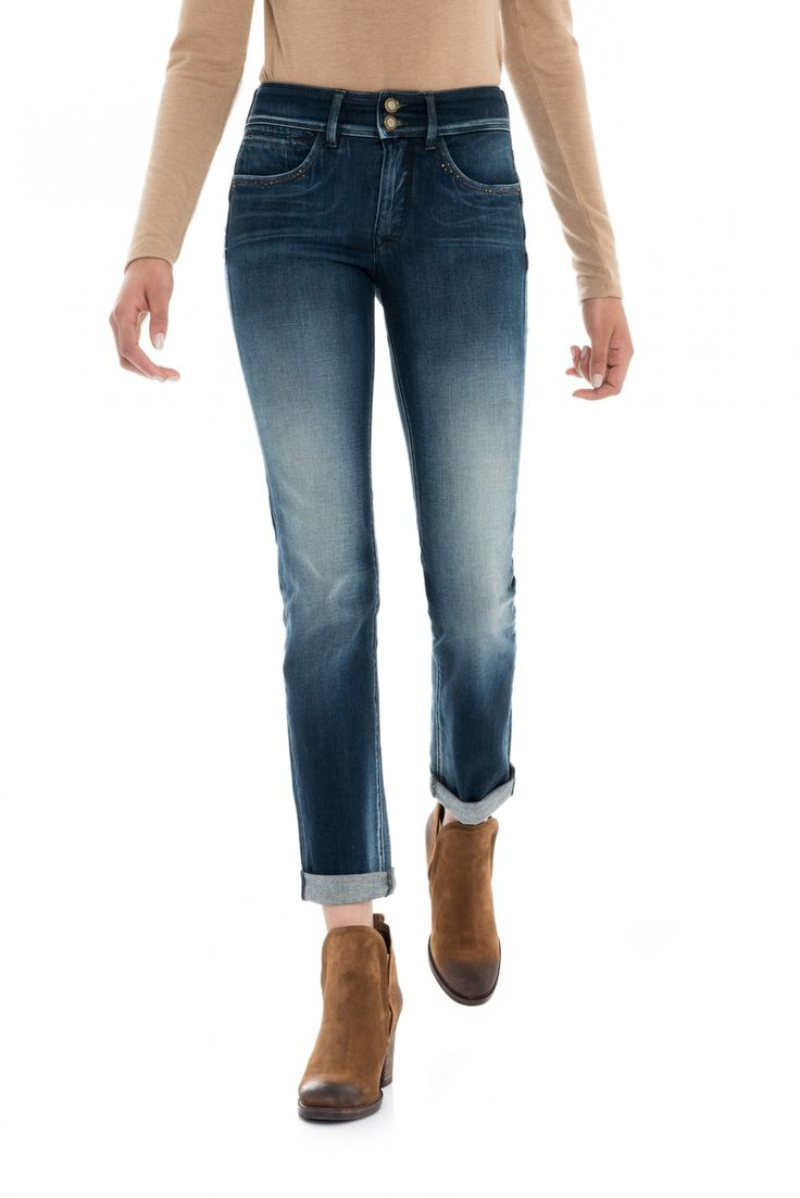 Pantalones Push In Secret Slim con tachuelas | 118746 Azul atlántico | Salsa