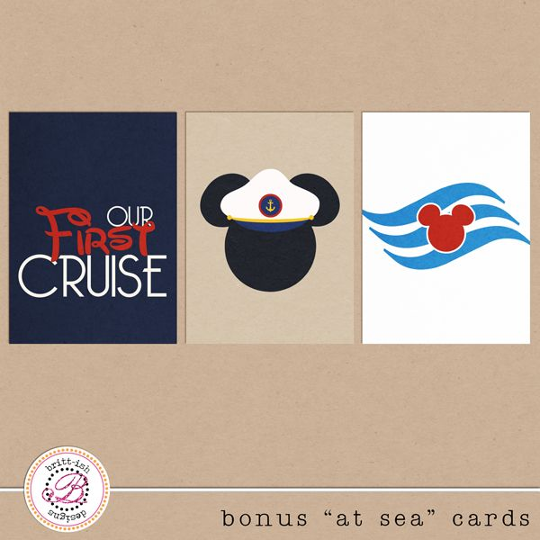 FREEBIE!! Free digital download. Disney Cruise journal cards from Britt-ish Designs!