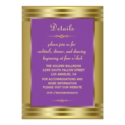 Royal Purple and Gold Baby Wedding Details Card - unusual diy cyo customize special gift idea personalize