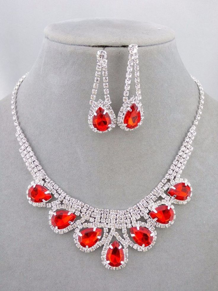 Red and Crystal Rhinestone Necklace Earrings Set Bib Style Fashion Jewelry  NEW…