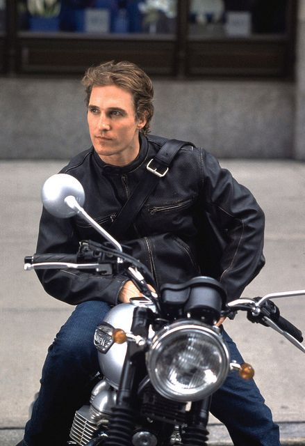 Matthew McConaughey on his Triumph.