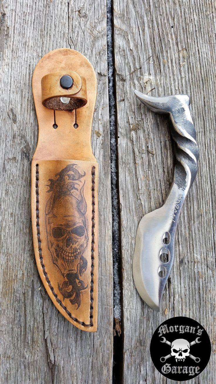 Railroad Spike Knife and Tattooed Leather Sheath