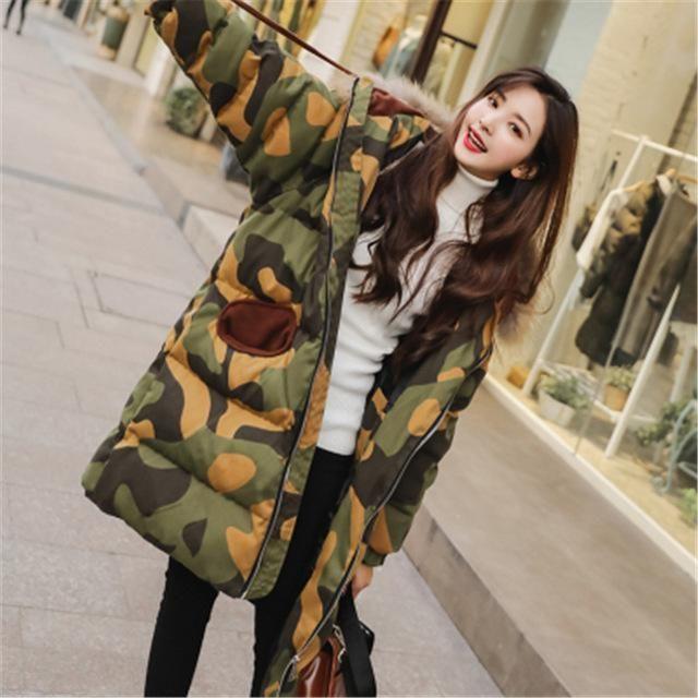 Camouflage Parka Women Long Thick Big Fur Collar Warm Overcoat Feminino Winter Hooded Parkas Femme Oversized Print Outwear XH877