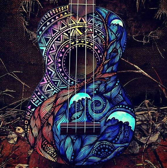 Made to order hand painted ukulele. This listing is for a hand painted ukulele with a waves & mandala design on the front. Each one will be
