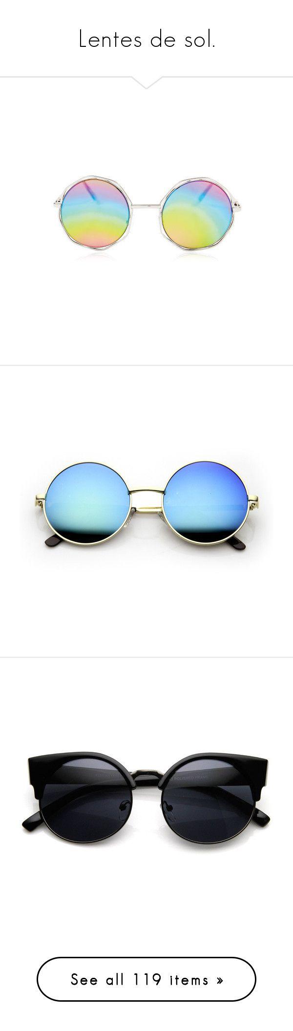 """Lentes de sol."" by allofmeallofme on Polyvore featuring accessories, eyewear, sunglasses, glasses, jewelry, rainbow sunglasses, circular sunglasses, circle sunglasses, rainbow glasses y snap glasses"