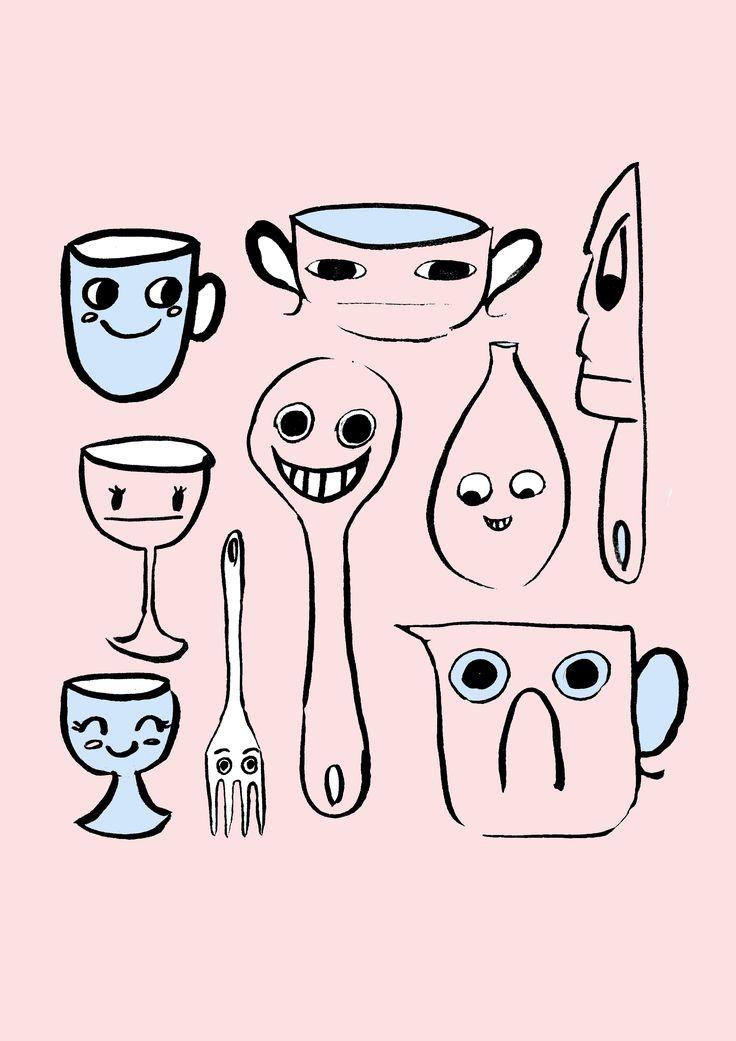 happy kitchen bits jessillustrates.com