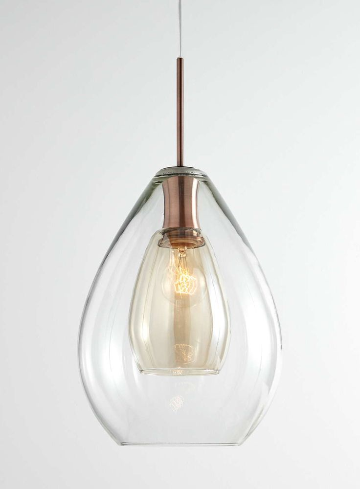 Litecraft 1 Light Glass Shade Ceiling Pendant with Smoked Glass Inner Shade  - Copper