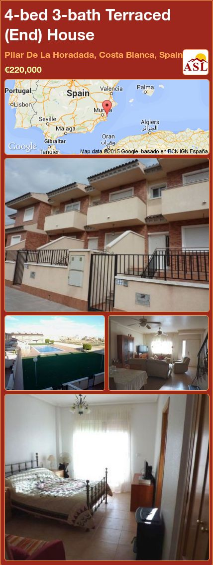 4-bed 3-bath Terraced (End) House in Pilar De La Horadada, Costa Blanca, Spain ►€220,000 #PropertyForSaleInSpain
