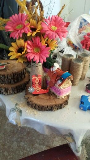 Cowgirl Centerpieces For 3yr Old Celebration Fiesta