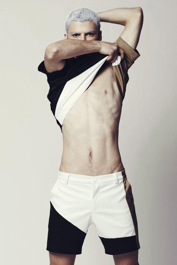 Mens Shorts Mens Color Block Shorts Mens White by EliranNargassi