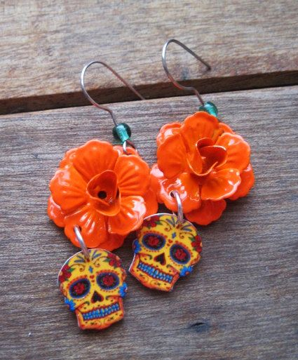 Dia de los Muertos jewelry, Day of the Dead Earrings, orange enamel rose, Calavera, Vintage Tattoo Flash, Mexican Jewelry, skull earrings. $23.00, via Etsy.