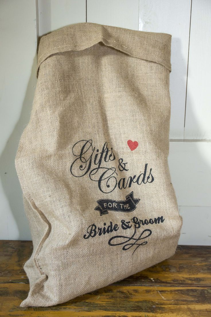 Lovely idea, a personalised card and gift sack for a barn style Wedding.