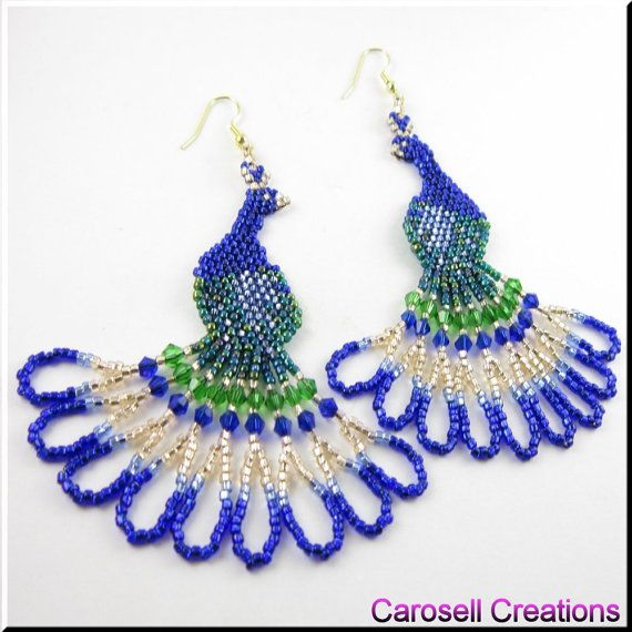 Peacock Bird Seed Beaded Dangle Earrings by carosell on Etsy, $28.00