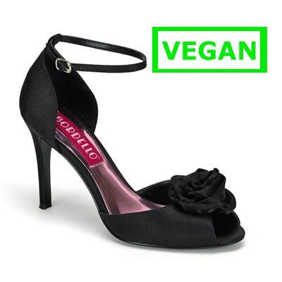 Rosa-02 zwart satijn- burlesque, pin-up open hakken schoen, pump met enkelbandje