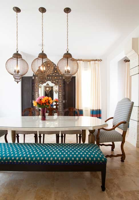 mixed dining room in a southampton moroccan space designed by laura u.
