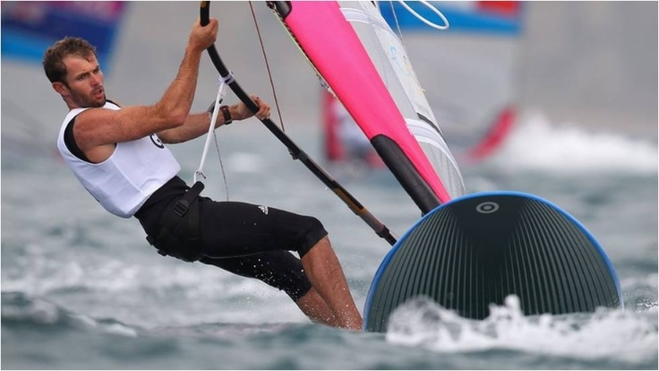 Nick Dempsey of Great Britain competes in the men's RS:X sailing at his last Games, Weymouth Harbour