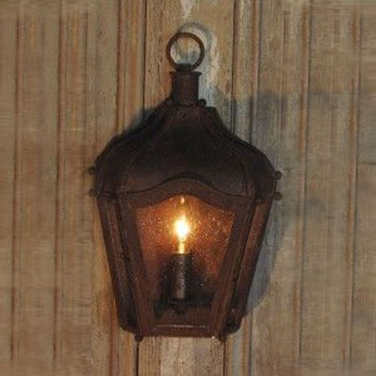 Rustic Brown Iron Carriage Wall Lantern Indoor/Outdoor Pictures