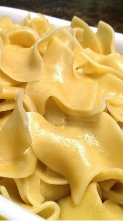 Hot Buttered Noodles ~ Wide Egg Noodles or Amish Noodles Cooked in Broth and Butter.