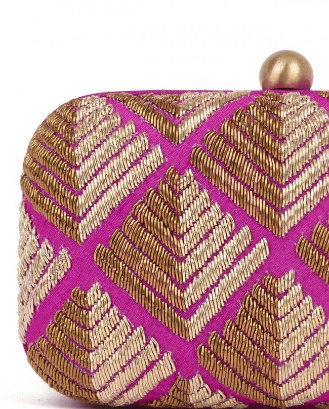 Dabka Embroidered Pink Phulkari Clutch